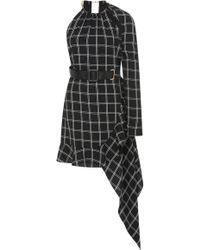 Self-Portrait - Belted Asymmetrical Checkered Mini Dress - Lyst