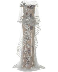 Marchesa Metallic Floral-appliqué Tulle Gown