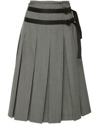 Tomas Maier - Pepita Wool Pleated Skirt - Lyst
