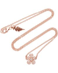 Colette | Small Flower 18k Rose Gold Diamond Necklace | Lyst