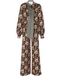 Oscar de la Renta - Silk Jumpsuit With Adjustable Waist - Lyst