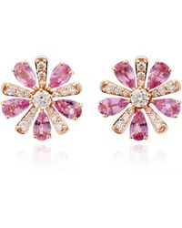 Hueb - M'o Exclusive 18k Rose Gold, Sapphire And Diamond Earrings - Lyst
