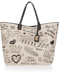 Dolce & Gabbana - Studded Printed Leather Tote - Lyst