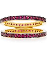 Joanna Laura Constantine   Gold-plated, Ruby Crisscross Ring   Lyst