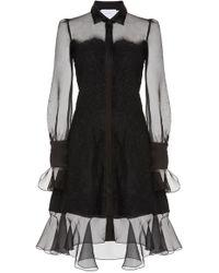 Marchesa - High-low Lace Mini Dress - Lyst