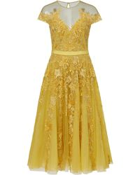 Zuhair Murad - Tiar Embroidered Silk-blend Tulle Midi Dress - Lyst
