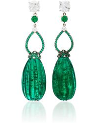 Martin Katz - One-of-a-kind Carved Emerald Briolette Drop Earrings - Lyst
