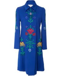 Carolina Herrera - Double Breasted Embroidered Coat - Lyst