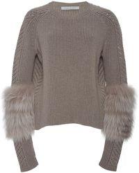 Sally Lapointe | Shrunken Pullover With Lavender Fox | Lyst