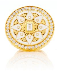 Buddha Mama - 20k White Enamel Coin Ring Set With Diamonds - Lyst