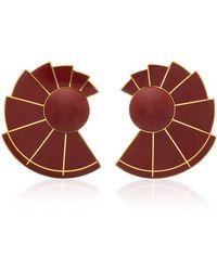 Monica Sordo | Nautilus Earfan 24k Gold-plated Brass Jasper Earrings | Lyst