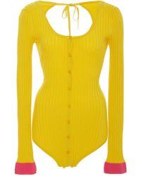 Prabal Gurung - Ribbed-knit Bodysuit - Lyst