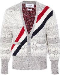 Thom Browne - Striped Fair Isle Wool And Mohair-blend Cardigan - Lyst