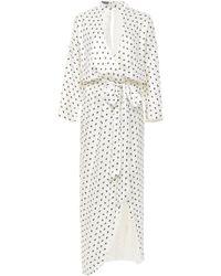 Monique Lhuillier - Butterfly Printed Satin Faux Wrap Dress - Lyst