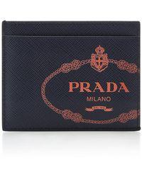 Prada - Logo-printed Textured-leather Cardholder - Lyst