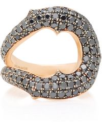 Sylva & Cie - Horseshoe 14k Rose Gold Black Diamond Ring - Lyst
