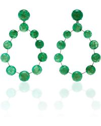 Nina Runsdorf - M'o Exclusive One-of-a-kind Emerald Cabochon Frontal Hoop Earrings - Lyst