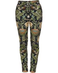 Lena Hoschek - Printed Stretch-cotton Skinny Trousers - Lyst
