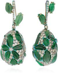Arunashi - One-of-a-kind Imperial Jade Flower Drop Earrings - Lyst