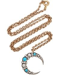 Toni + Chloë Goutal - Tabitha Gold, Turquoise And Diamond Necklace - Lyst