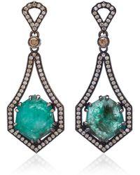 Sara Weinstock - 18k Oxidized Gold, Emerald And Diamond Earrings - Lyst