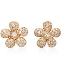 Colette | Baby Flower 18k Rose Gold Diamond Earrings | Lyst