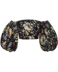 Monique Lhuillier - Printed Mikado Bandeau Top With Puff Sleeves - Lyst