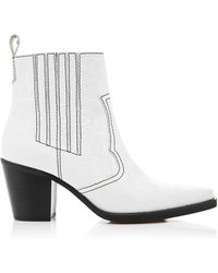 Ganni - Leather Ankle Boots - Lyst
