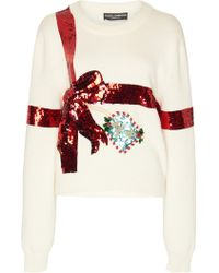 Dolce & Gabbana - Bow Sequin-embellished Knit Sweater - Lyst