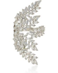 Fallon | Deco Fern Rhodium-plated Crystal Ring | Lyst