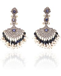 Sanjay Kasliwal - Indo-russian 14k Gold, Pearl, Sapphire And Diamond Earrings - Lyst