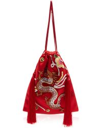 Attico - Embroidered Drawstring Pouch - Lyst