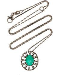 Jack Vartanian - 18k White Gold And Black Rhodium Diamond And Emerald Necklace - Lyst