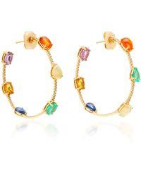 Nina Runsdorf - M'o Exclusive: One-of-a-kind Multi-stone And Diamond Hoop Earrings - Lyst