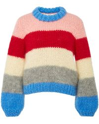 Ganni | The Julliard Striped Mohair And Wool-blend Jumper | Lyst