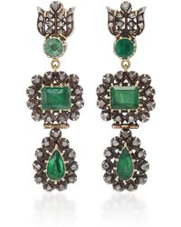 Sylva & Cie - 18k Gold, Emerald And Diamond Drop Earrings - Lyst