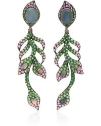 Wendy Yue - 18k White Gold, Opal, Tsavorite And Pink Sapphire Earrings - Lyst