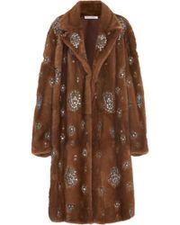 Oscar de la Renta - Crystal Embellished Mink Fur Coat - Lyst