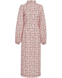 Emilia Wickstead - Alison High Neck Floral Crepe Midi Dress - Lyst
