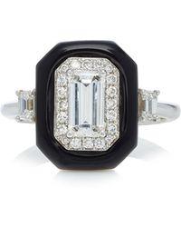 Nikos Koulis - Oui Ring With Emerald Cut White Diamonds And Black Enamel - Lyst