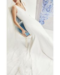 Carolina Herrera - Ivy V-neck Crepe Trumpet Gown - Lyst
