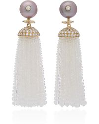 Goshwara - 18k Gold, Pearl, Moon Quartz And Diamond Tassel Earrings - Lyst
