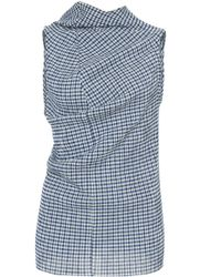 Jil Sander - Sleeveless Checked Draped Top - Lyst