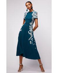 Oscar de la Renta - Short Sleeve Embroidered Spruce Midi Dress - Lyst