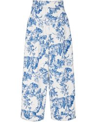 Oscar de la Renta - Wide-leg Cropped Floral Stretch-cotton Trousers - Lyst