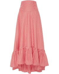 MDS Stripes - Exclusive Ruffle High-low Cotton Maxi Skirt - Lyst
