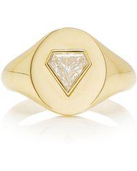 Jemma Wynne 18k Yellow Gold Shield Diamond Signet Ring