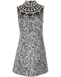 Michael Kors - Shift Dress With Embroidered Bib - Lyst
