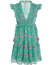 Banjanan - Chandra Floral Cotton Voile Midi Dress - Lyst