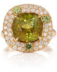 Pamela Huizenga - Cushion Shaped Sphene Centre Stone Ring With Demantoid Garnet Accent Stones And Diamond Nest - Lyst